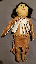 Vintage Native American Indian Leather Beaded Doll 9 Gorgeous - South West Usa