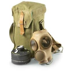 Brown Gas Mask W/ Bag And Filter Belgian Military Surplus Rubberized Wwii Collect