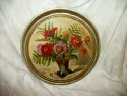 1920s Flowers Roses Oil Painting Round French Farmhouse Silver Gilt Signed
