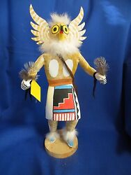 Large 14 Inch Navajo Indian Hand Crafted Giant Owl Kachina By Albert Chavez