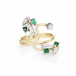 Abstract 60s Diamond Emerald Ring 14k Yellow Gold Organic Branch Vintage Jewelry