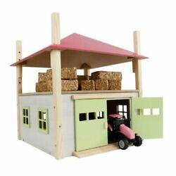 1/32 Pink Wooden Hay Barn With Loft And Adjustable Roof By Kids Globe 610085