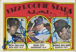 Completely Signed 1972 Topps Ron Cey, Ben Oglive, Bernie Williams Psa Guarantee