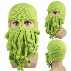 Wind Face Mask Octopus Tentacle Knitted Beanie Cap Ski Winter Autumn Funny Hats