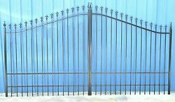Quality Wrought Iron Style Steel / Iron Driveway Gate 14and039 Wd Yard Home Security