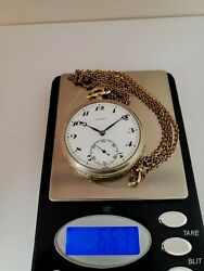 Antique Majestic 2 Tone Pocket Watch With Chain Gold