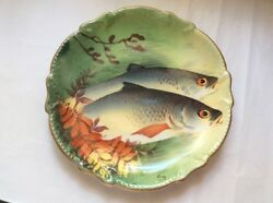 Authentic Antique French Limoges Hand Painted Signed Fish Wall Platter