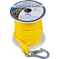 Marine Boat Sea-dog Poly Pro Braid Anchor Line With Snap - 3/8 X 100and039 - Yellow