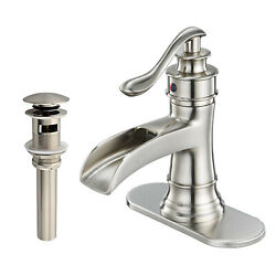 Brushed Waterfall Bathroom Sink Faucet 3 Hole Single Handle Vanity Mixer W/cover