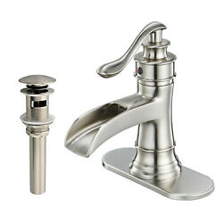 Chrome Waterfall Bathroom Sink Faucet 3 Hole Single Handle Vanity Mixer W/cover
