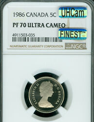 1986 Canada 5 Cents Ngc Pf70 Uhcam Mac Finest Graded Mac Spotless