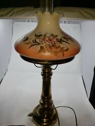 Vintage Hurricane Electric Table Lamp Painted Flower Shade Ruffle Top Rare