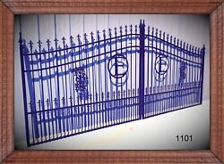 Wrought Iron Style Steel Driveway Entry Gate 14and039 1101 Home Residential Security