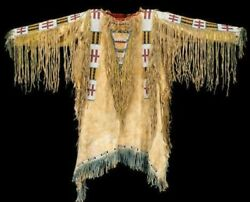 Western Native American Suede Leather Indian Jacket Fringes And Beaded War Shirt