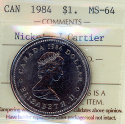 1984 Canada Jacques One Dollar Coin. Unc 1 Iccs Ms-64