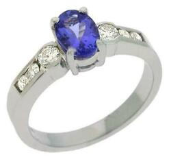 1.19ct Diamond And Aaa Tanzanite 14kt White Gold 3d Oval And Round Engagement Ring