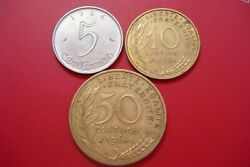France 5, 10, 20 Centimes Lot Of 3 Coins Circulated 1963-1964