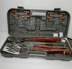 Vintage Barbeque Full Set With Case Complete, Spatula, Tongs, Brush, Skewers Etc