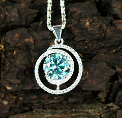 Engagement Gift 8.24 Ct Blue Diamond Solitaire Halo Menand039s Pendant-free Chain