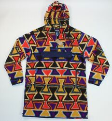 Synchilla Cagoule Catalan Coral Aztec Red Blue Fleece Anorak Pullover