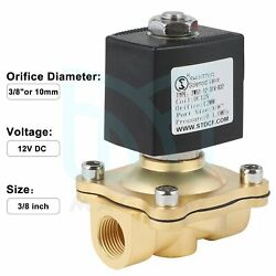 """3/8"""" 12v Dc Brass Electric Solenoid Valve Water Air Gas Fuel Normally Closed N/c"""