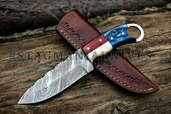 Lot Of 10 Hand Forged Damascus Steel Hunting Knife - Taxes Handle - Full Tang