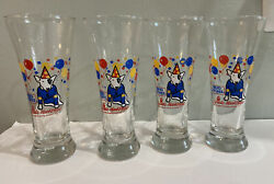 Four Vintage 1987 Spuds Mackenzie Party Animal Beer Glasses Budweiser New