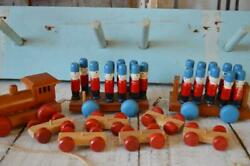Wooden Train Set, Wooden Toys, Wooden Vintage Toys, Wooden Soldiers, Vintage Sol