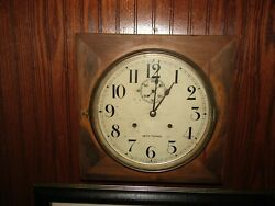 1930and039s Vintage Seth Thomas Square Wall Clock With Key