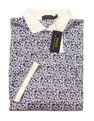 Polo Big And Tall Menand039s White Multi Floral Soft Touch S/s Polo Shirt