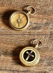 Antique Compass Locket Brass Necklace Pendant Handmade Vintage Collectible Gift