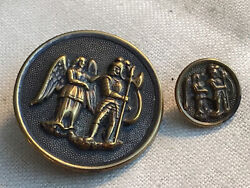 2 Antique Victorian Metal Button Charlemagne And Warning Angel Sm And Lg