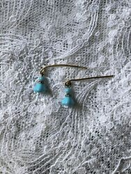 Jumeau Blue Tiny Glass Bells Antique Earrings For Dolls Bru Bisque