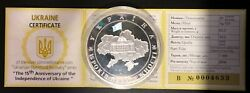 Ukraine Silver Coin 20 Hryvnia 2006 15 Years Of Independence 2 Oz + Certificate