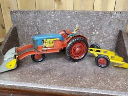 Rare Antique Child's Metal Tractor And Plow Push Toy - Working