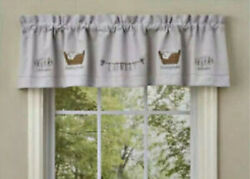 New Primitive Country Farmhouse Rustic Gray Laundry Room Valance Curtain