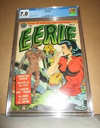 Eerie 5 Cgc 7.0 Just 1 Sold Finer Wally Wood Mummy And Headlights 1952 Avon Horror
