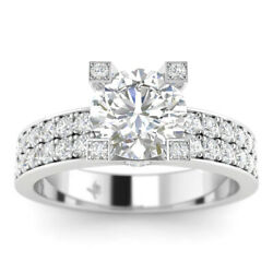1.16ct D-vs2 Diamond Wide Band Engagement Ring 14k White Gold Any Size