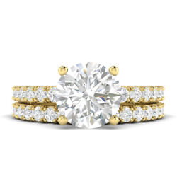1.31ct D-vs2 Diamond Round Engagement Ring 14k Yellow Gold Any Size