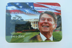 Ronald Reagan Pocket Knife And Key Chain Set In Tin,40th President,commemorative