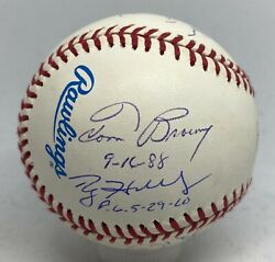 Perfect Game Pitchers 9x Signed Baseball Roy Halladay Don Larsen Cone + Steiner