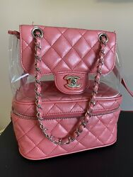 Pink Quilted Lambskin Leather Large Urban Spirit Backpack Bag