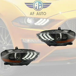 Pair Left And Right Side Led Headlights For 2018 2019 Ford Mustang Dual Beam Drl