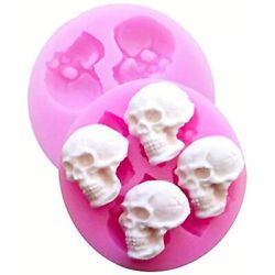 Hengke 2 Pcs 3d Skull Silicone Mould, Chocolate Candy Molds, Halloween Skulls