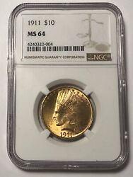 Gold Eagles 10 Indian Head 1911 P Ngc Ms-64