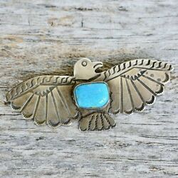 Fred Harvey Large Thunderbird Pin Blue Turquoise And Sterling Silver Old Pawn