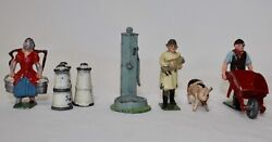 Timpo + Johillco + Britains Toy Lead Soldiers 9-piece Farm Figures + Accessories