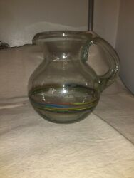Vintage Hand Blown Glass Mutl Colored Striped Pitcher