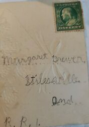 Vintage Early 1900and039s Post Card Witb Rare Benjamin Franklin Stamp From Germany