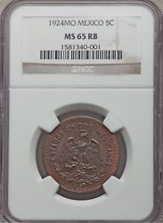 Mexico Estados Unidos 1924 5 Centavos Coin Certified Uncirculated Ngc Ms65-rb